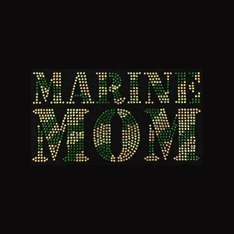 "Marine Mom  (4.75x8.25"") Rhinestone Bling  Shirt - Bling By Bates"