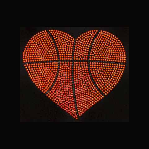 "Basketball Heart Large (8x9"") Rhinestone Bling Shirt - Bling By Bates"