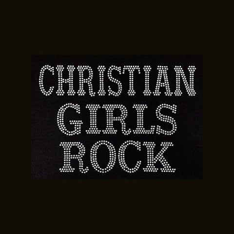 "Christian Girls Rock  (7x10.25"")  Rhinestone Bling Shirt - Bling By Bates"