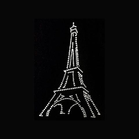 "Eiffel Tower (7.5x5"")  Rhinestone Bling Shirt - Bling By Bates"