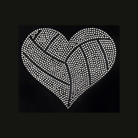 "Volleyball Large Heart (7.5x9"") Rhinestone Shirt - Bling By Bates"
