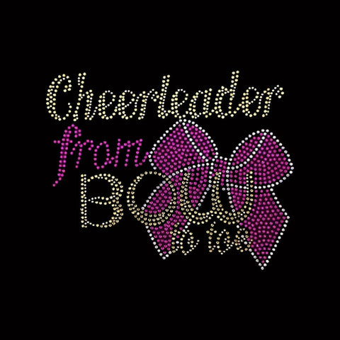 "Cheerleader From BOW to Toe (6.25x8"") Silver Rhinestone Bling Shirt - Bling By Bates"