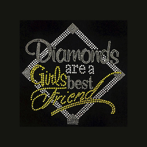 "Diamonds are a Girl's Best Friend (Yellow) (8.5x8.5"") Rhinestone Bling Shirt - Bling By Bates"