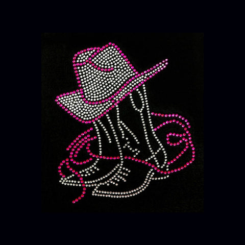 "Boots & Hat  Pink (8.5x7.5"") Rhinestone Bling Shirt - Bling By Bates"