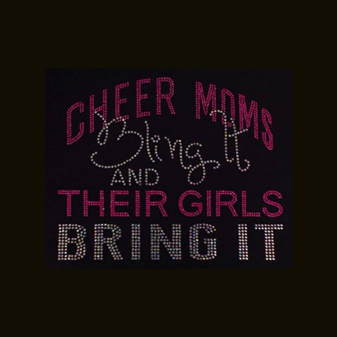 "Cheer Moms Bling It (8.25x9.75"") Rhinestone Bling Shirt - Bling By Bates"