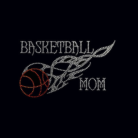 "Basketball Mom (5.5x9.5"") Rhinestone Bling Shirt - Bling By Bates"