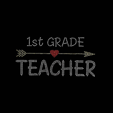 "1st Grade Teacher Arrow (4.25x9"") Rhinestone Bling Shirt - Bling By Bates"