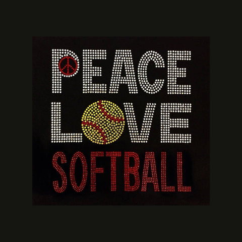 Peace Love Softball (8.5x8.5) Rhinestone Shirt - Bling By Bates