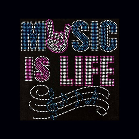"Music Is Life (10x9.5"") Rhinestone Bling Shirt - Bling By Bates"