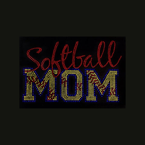 "Softball Mom Stitches - Blue (6.25x9.5"") Rhinestone Shirt - Bling By Bates"