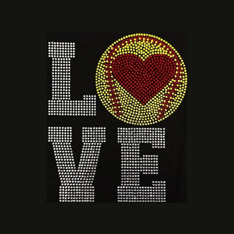 Softball, LOVE (9x7.5) Rhinestone Bling Shirt - Bling By Bates