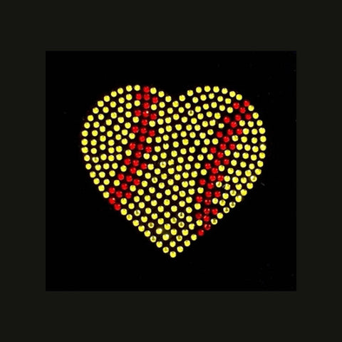 Softball Heart (3x3) Rhinestone Bling Shirt - Bling By Bates