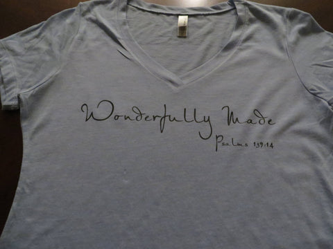 Wonderfully Made Psalm 139:4 - Plain, Glitter or Metallic Vinyl Bling Shirt - Bling By Bates