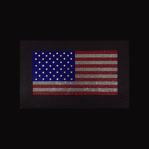 "American Flag Medium (4x7.5"") Rhinestone Shirt - Bling By Bates"
