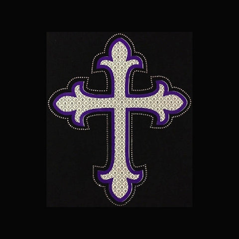 "Tile Cross (10.75x8.25"") Printed Vinyl & Rhinestone Bling Shirt - Bling By Bates"