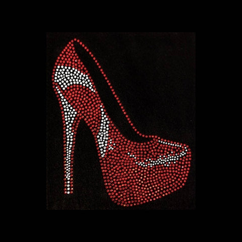 "High Heel Stiletto (8x6.5"") Rhinestone Bling Shirt - Bling By Bates"