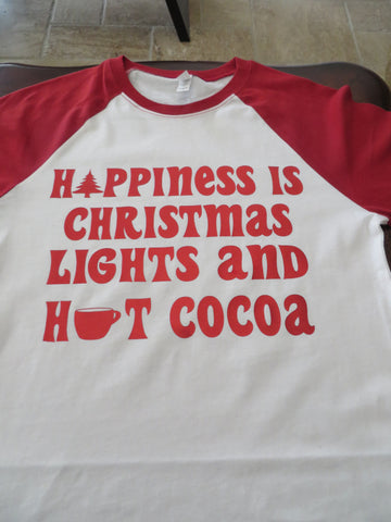 Happiness is Christmas Lights and Hot Chocolate Bling Shirt - Bling By Bates