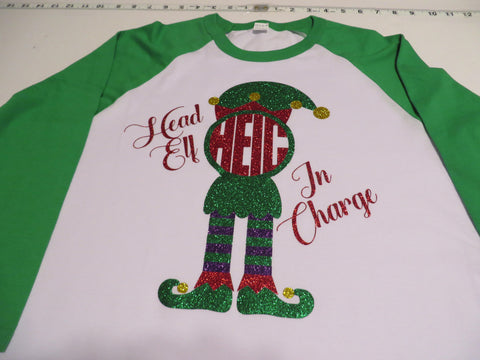 Head Elf in Charge Monogram Body Glitter Vinyl Bling Shirt - Bling By Bates