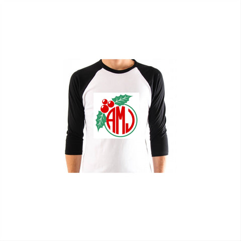Christmas Wreath Monogram - Vinyl Bling Shirt - Bling By Bates