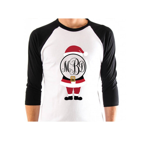 Santa with Monogram Bling Shirt - Bling By Bates