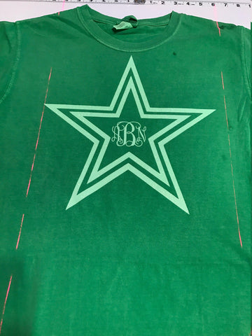 Star Monogram Plain, Glitter, or Metallic Vinyl Bling Shirt - Bling By Bates