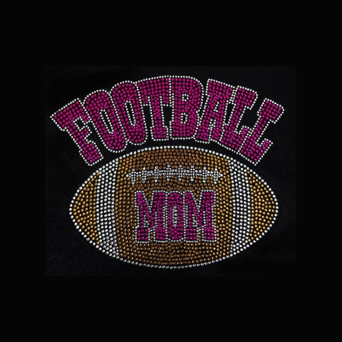 "Football Mom Groovy, Pink (7.5x9.25"") Rhinestone Shirt - Bling By Bates"