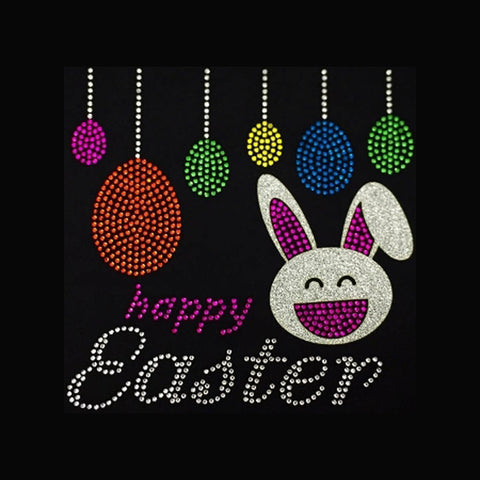 "Happy Easter (7.5x7.5"") Rhinestone Bling Shirt - Bling By Bates"
