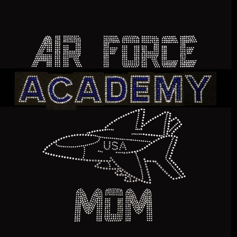 Air Force Academy Mom - Rhinestone Bling Shirt - Bling By Bates