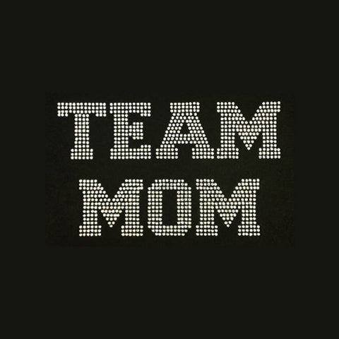 "Team Mom (6x8.5"") Rhinestone Bling Shirt - Bling By Bates"