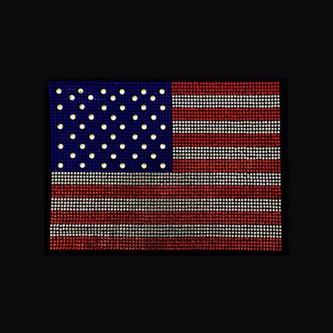 "American Flag Large (7.75x10.5"") Rhinestone Bling Shirt - Bling By Bates"