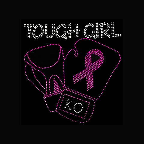 "Tough Girl (9x8.75"") Cancer Rhinestone Bling Shirt - Bling By Bates"
