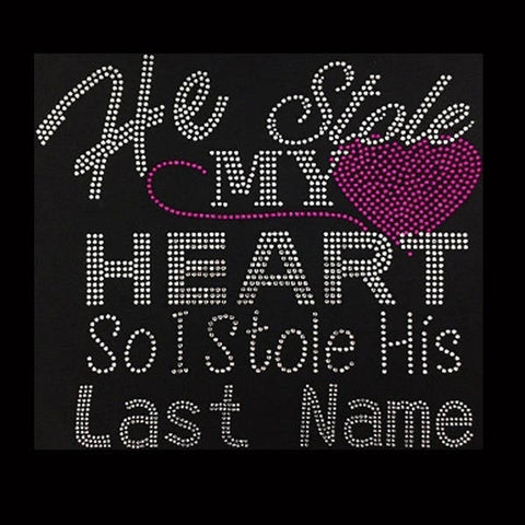 "He Stole My Heart, Pink (9x10"") Rhinestone Bling Shirt - Bling By Bates"
