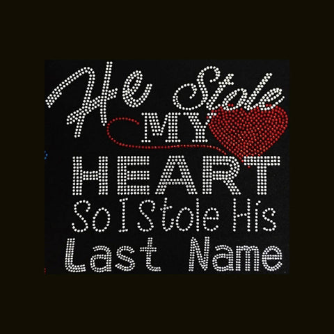 "He Stole My Hear, Red (9x10"") Rhinestone Bling Shirt - Bling By Bates"