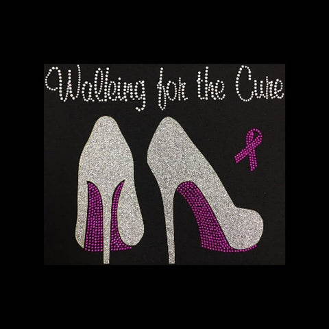 "Walking for the Cure (9.75x7.75"") Glitter & Rhinestone Bling Shirt - Bling By Bates"