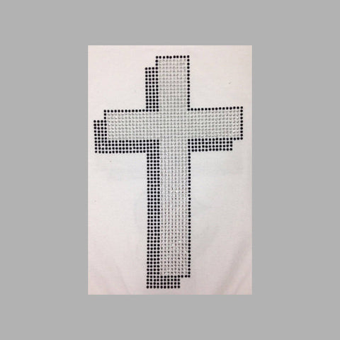 "Cross Shadow (10x6.25"") Rhinestone Bling Shirt - Bling By Bates"