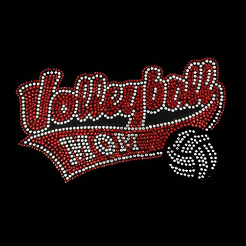 "Volleyball Mom (5x8.25"") Rhinestone Shirt - Bling By Bates"