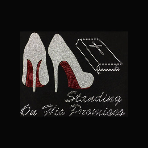 "Standing On His Promises (7.75x9.75"") Faith Rhinestone Bling Shirt - Bling By Bates"