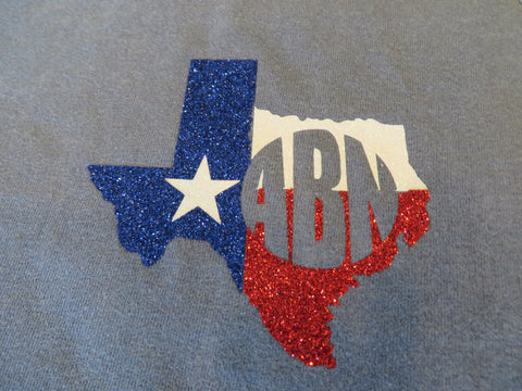 Texas Map with Monogram Glitter Vinyl Bling Shirt - Bling By Bates