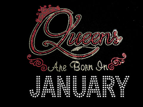 "Queens are born in January Red (9.25x9"") Rhinestone Bling Shirt - Bling By Bates"