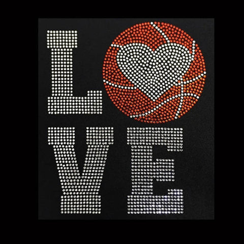 Love Basketball Heart (9x7.5) Rhinestone Bling Shirt - Bling By Bates