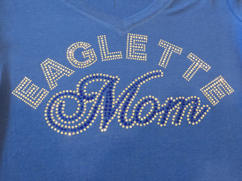 Drill Team - Eaglette Mom Barbers Hill  Rhinestone Shirt - Bling By Bates