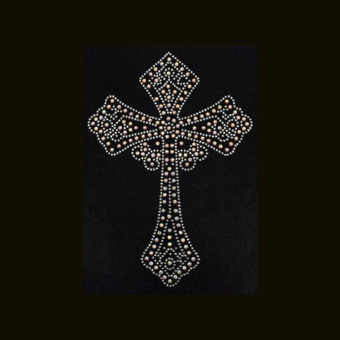 "Crystal  Iridescent  Cross  (9x6.25"")  Rhinestone Bling Shirt - Bling By Bates"