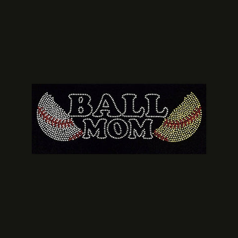 "Baseball, Softball, Ball Mom  (3x9.5"") Rhinestone Shirt - Bling By Bates"