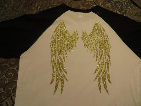 Angel Wings - Glitter Vinyl  Bling Shirt - Bling By Bates