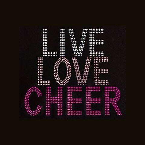 "Live Love Cheer (8x8.5"") Rhinestone Bling Shirt - Bling By Bates"