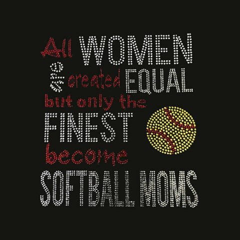 "Women Created Equal Softball (9.25x8.25"") Rhinestone Shirt - Bling By Bates"