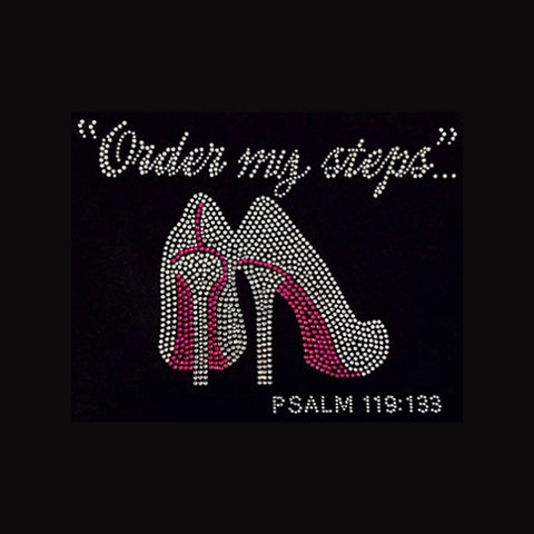 "Order My Steps (7.5x10.5"") Faith Rhinestone Bling Shirt - Bling By Bates"
