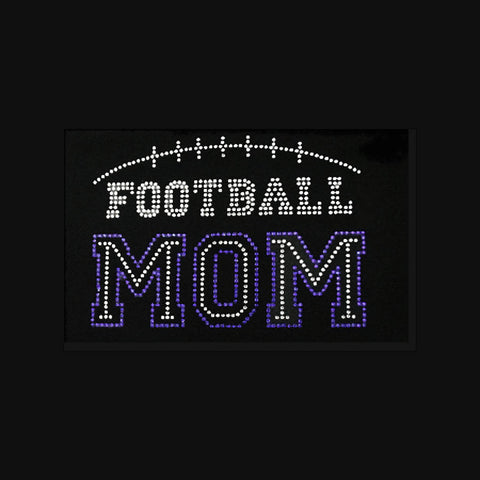 "Football Mom with outline (6x8"") Rhinestone Bling Shirt - Bling By Bates"