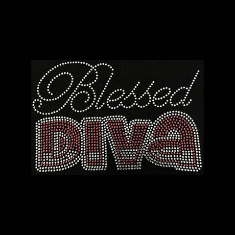 "Blessed DIVA (6x8.75"") Rhinestone Bling Shirt - Bling By Bates"