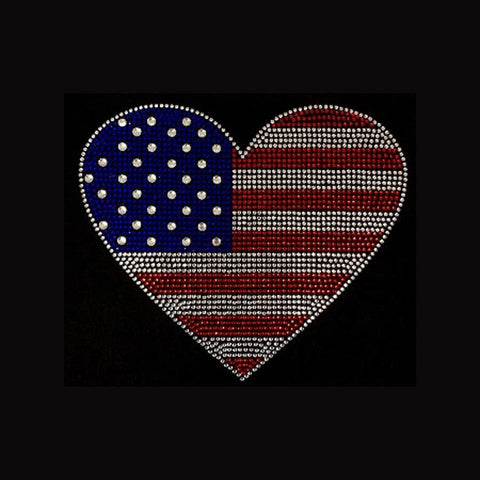 "American Flag Heart (8x9.25"") Patriotic Rhinestone Bling Shirt - Bling By Bates"